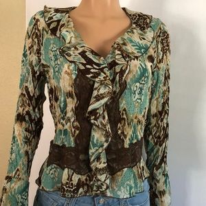 Allison Taylor Boho Ruffles print top size small